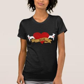 Mamá de bull terrier [estilo del tatuaje] camisetas