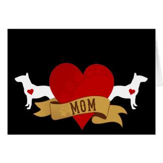 Mamá de bull terrier [estilo del tatuaje] tarjeta de felicitación