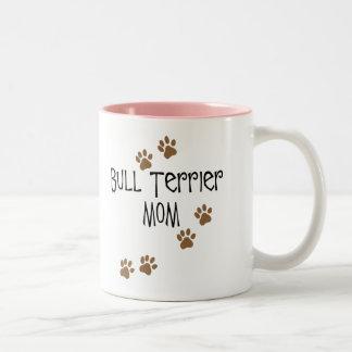 Mamá de bull terrier tazas