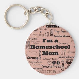 Mamá de Homeschool Llavero Redondo Tipo Pin