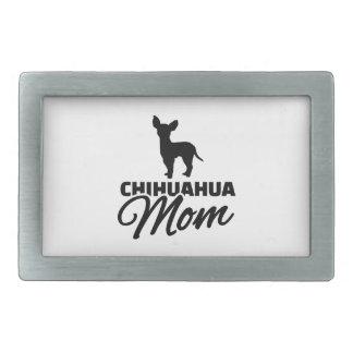 Mamá de la chihuahua hebilla de cinturón rectangular