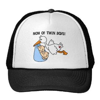 Mamá de la cigüeña de muchachos gemelos gorra