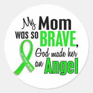 Mamá de la distrofia muscular del ángel 1 pegatina redonda