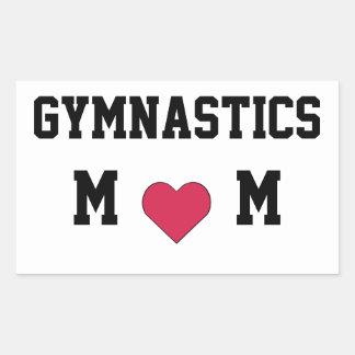 Mamá de la gimnasia pegatina rectangular