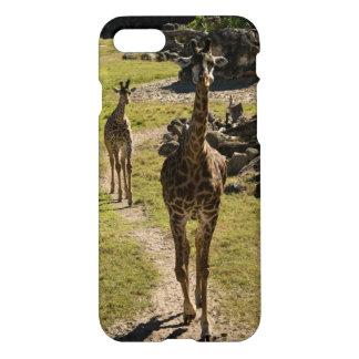 Mamá de la jirafa y becerro del bebé funda para iPhone 7