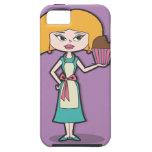 Mamá de la magdalena con el fondo púrpura iPhone 5 Case-Mate protector