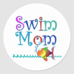 Mamá de la nadada pegatinas redondas