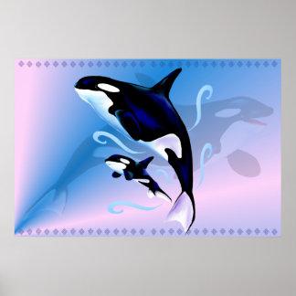 Mamá de la orca e impresión del bebé