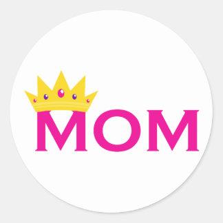 Mamá de la reina pegatina redonda
