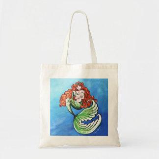 Mamá de la sirena en color en tote del océano bolsa tela barata