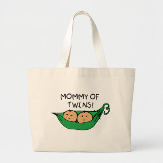 Mamá de la vaina gemela bolsas lienzo