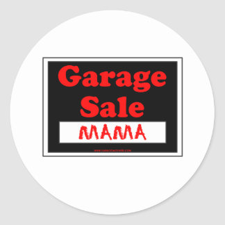 Mamá de la venta de garaje pegatina redonda