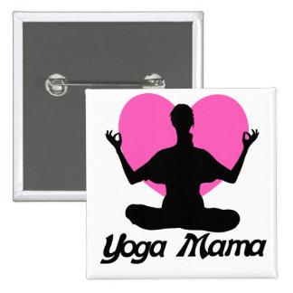 Mamá de la yoga pin cuadrado