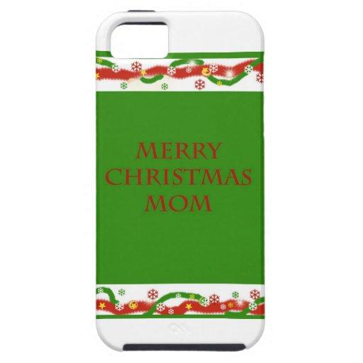 Mamá de las Felices Navidad iPhone 5 Cárcasas