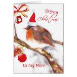 mamá de las Felices Navidad, ornamento rojo del go Tarjetas