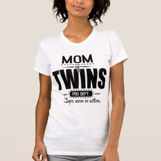 Mamá de los gemelos favorable Dept. Super Mom en Playeras