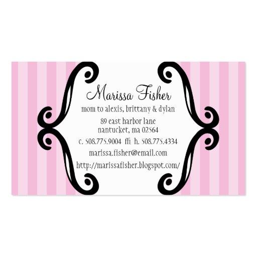 Mamá de los rosas bebés llamada rayada encantadora tarjeta de visita