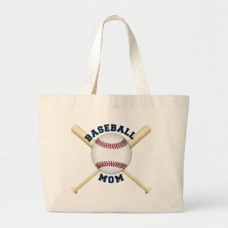 Mamá de moda del béisbol bolsa tela grande