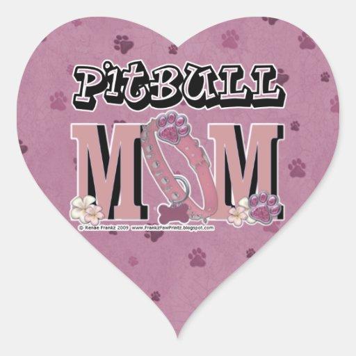MAMÁ de Pitbull Pegatina En Forma De Corazón