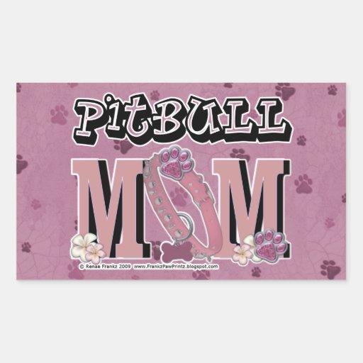 MAMÁ de Pitbull Pegatina Rectangular