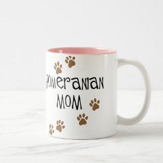 Mamá de Pomeranian Taza De Café De Dos Colores