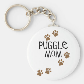 Mamá de Puggle Llavero Redondo Tipo Pin