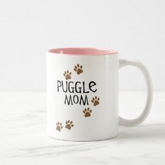 Mamá de Puggle Taza De Café De Dos Colores