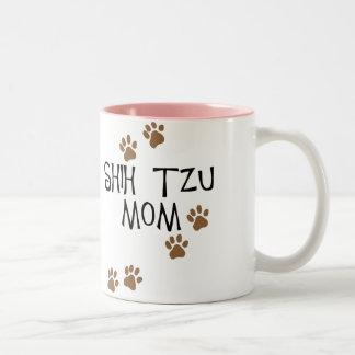 Mamá de Shih Tzu Taza De Café De Dos Colores
