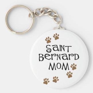 Mamá de St Bernard Llavero Redondo Tipo Pin