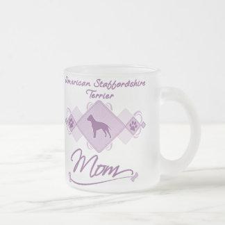 Mamá de Staffordshire Terrier americano Taza Cristal Mate