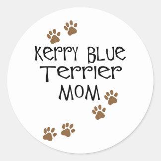 Mamá de Terrier de azul de Kerry Pegatina Redonda