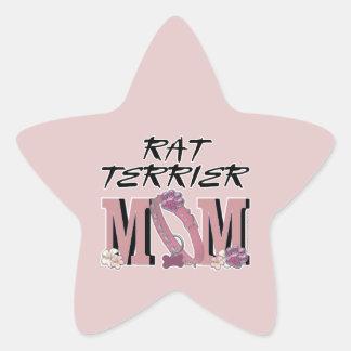 MAMÁ de Terrier de rata Calcomanías Forma De Estrella Personalizadas