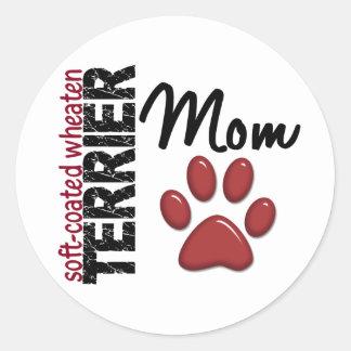 Mamá de trigo Suave-Revestida 2 de Terrier Pegatina Redonda