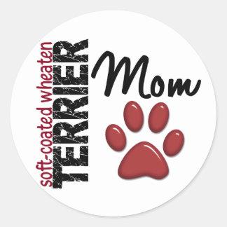 Mamá de trigo Suave-Revestida 2 de Terrier Pegatinas Redondas