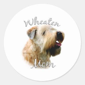 Mamá de trigo suavemente revestida 2 de Terrier Pegatina Redonda