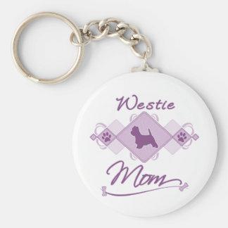 Mamá de Westie Llavero Redondo Tipo Pin