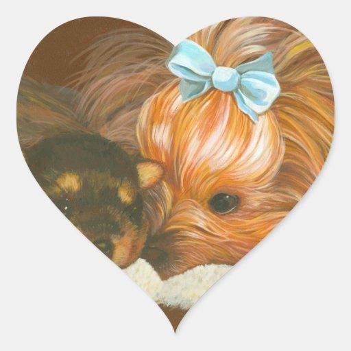 Mamá de Yorkie con el perrito Colcomanias De Corazon Personalizadas