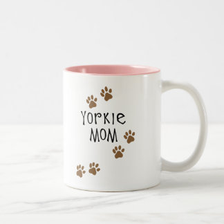 Mamá de Yorkie Taza De Café De Dos Colores