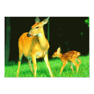Mama Deer & Baby Fawn 5x7 Paper Invitation Card