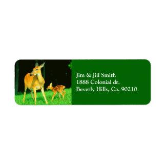 Mama Deer & Baby Fawn Return Address Labels