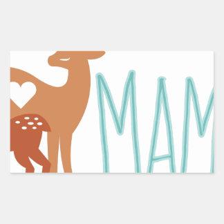 Mamá Deer Pegatina Rectangular