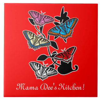 Mama Dee's Kitchen with Butterflies: Customizable Tile