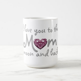 mamá del amor a estar en la luna y taza trasera