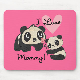 Mamá del amor de las pandas I Tapete De Ratón
