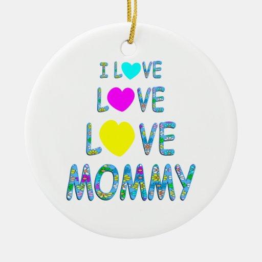 Mamá del amor del amor adorno redondo de cerámica