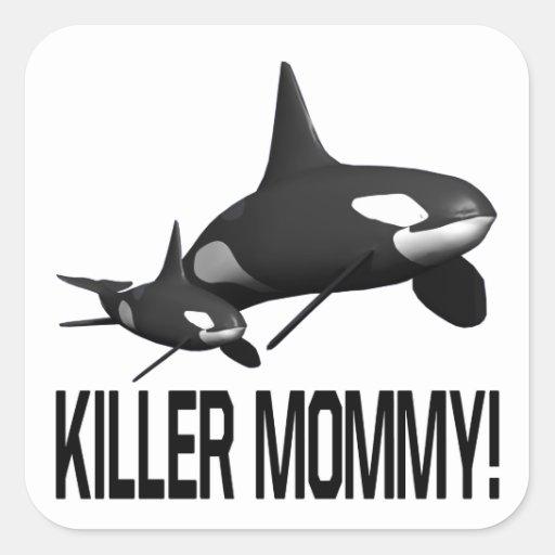 Mamá del asesino pegatina cuadrada