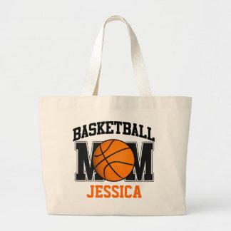 Mamá del baloncesto personalizada bolsa de tela grande