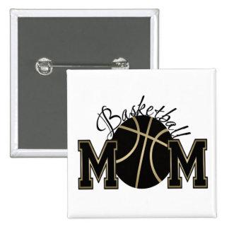 Mamá del baloncesto pin cuadrado