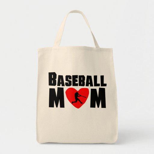 Mamá del béisbol bolsa tela para la compra