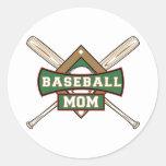 Mamá del béisbol etiquetas redondas